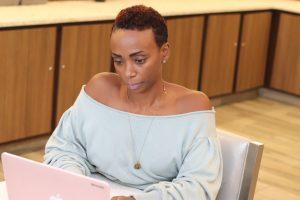 Elethia working at desk